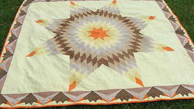 """cotton Lone Star 1930s all hand quilted quilt, uncommon border, 91"""" x 82""""  *"""