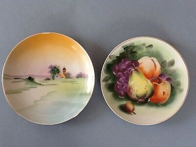 "1-Lefton China Hand Painted Fruit Plate 6""/ 1-Nippon China Hand Painted Plate 6"""