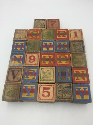 """ANTIQUE Wood ALPHABET Blocks Lot of 27 Number Word PICTURE Cubes 1.75"""" Square"""