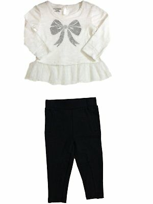 Infant Toddler Girls Cream & Silver Bow Black  Legging Outfit 2 Piece Outfit