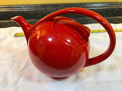Vintage Hall China Teapot Chinese Red Excellent Condition
