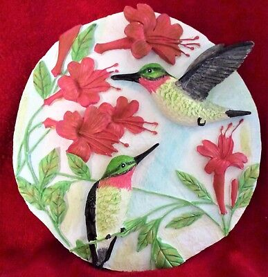 Colorful Hummingbird and Flowers Wall Plaque New