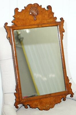 Rare Georgian Burr Walnut Circa 1730 George Ii Wall Hanging Mirror Rare Find