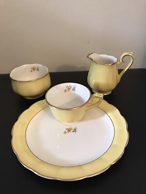 Vintage Hall China Buttercup Set Yellow Tea Cup Luncheon Plate Sugar Creamer