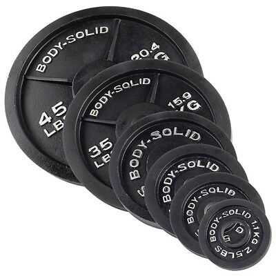 """Body-Solid Olympic Iron Weight Plates 2"""" Hole Diameter Black Strength Equipment"""
