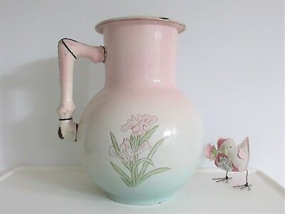 Antique 1880's FRENCH ENAMELWARE BODY PITCHER Embossed LARGE Water Jug ENAMEL