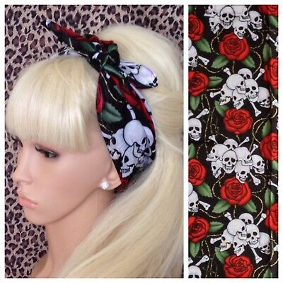 New Black Skull Red Rose Print Cotton Bandana Head Band Hair Neck Scarf Pin Up