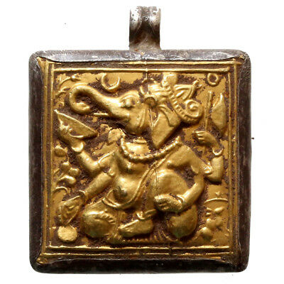 Very Rare Medieval India Silver And Gold Pendant Depicting Ganesha God 1400 Ad