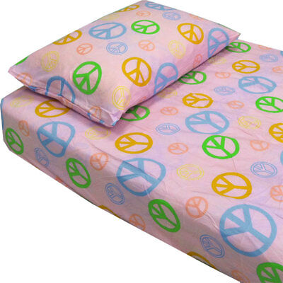 3pc Pink Peace Sign Twin XL Bed Sheet Set - Hippie Geometric Sheet Bedding Cover