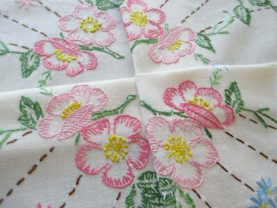 Vintage Tablecloth Hand Embroidered Pink & Blue Flowers