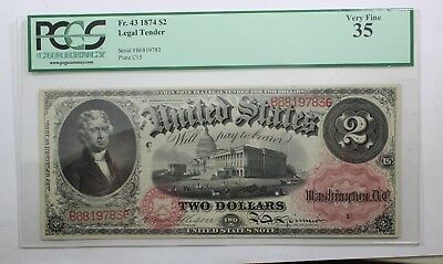 1874 Two Dollars Legal Tender Currency Pcgs Vf35 Fr. 43 $2