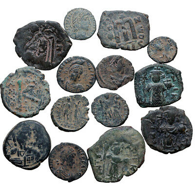 Lot Of 14 Roman & Byzantine Bronze Coins