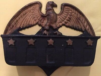 Eagle With Five Stars Cast Iron Match Box Holder-Black And Gold Painted-#220E