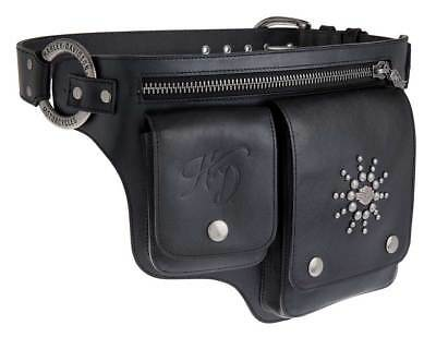 Harley-Davidson Women's Gypsy Soul Genuine Leather Belt HipBag HDWBT10999-BLK
