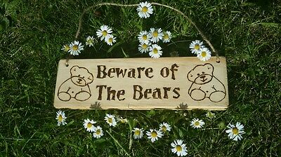 Wooden sign Beware of the Bears - Teddy Bear Picnic Party - Great gift idea