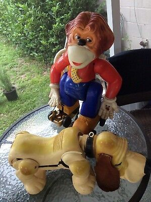 Ideal-toys-Gaylord-Dog-Basset-Hound & Clancy skating monkey 1960s PARTS-ONLY