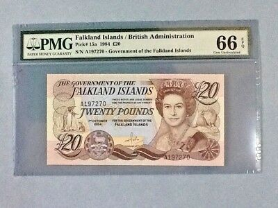 Falkland Islands 20 Pounds P-15-A 1984  PMG 66 EPQ