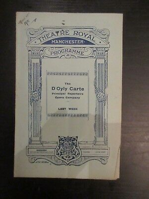Theatre Royal Manchester programme Mch 22nd 1910 The D'Oyly Carte Opera Company