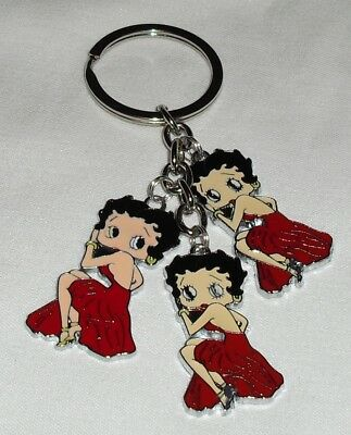 Betty Boop in Sitting Pose Charms in Red Keychain/Keyring  Handcrafted