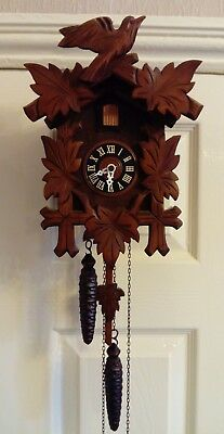 Vintage Albert Schwab Jewelled Cuckoo Clock Black Forest Made In Western Germany