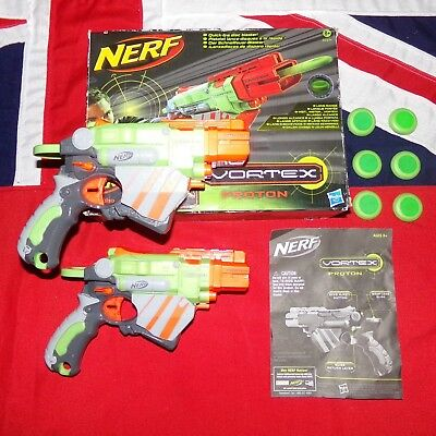 2 x Nerf Vortex Proton Blaster Gun & 6 Green Foam Disks Instructions Bundle VTX