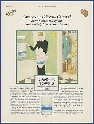 Vintage 1926 CANNON TOWELS Malaga Brenet Art Bathroom Decor Print Ad 1920's