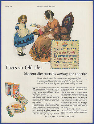 Vintage 1926 QUAKER Puffed Rice Wheat Cereal Kitchen Art Decor Print Ad 1920's