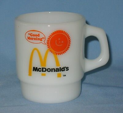 "Vtg. McDonald's ""Good Morning"" Coffee Cup Mug Fire-King Anchor Hocking excellent"