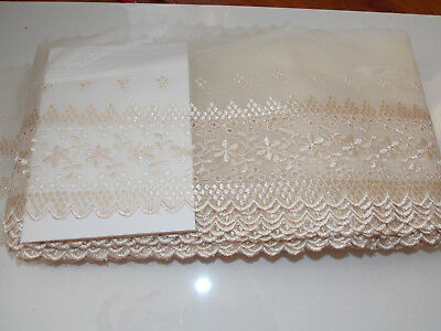 21cm wide PINK embroidered tuile lace bridal wedding dress prom trim net1