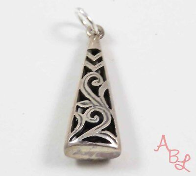 Sterling Silver Vintage 925 Scroll Art Filigree Dangle Pendant (2.3g) - 724685