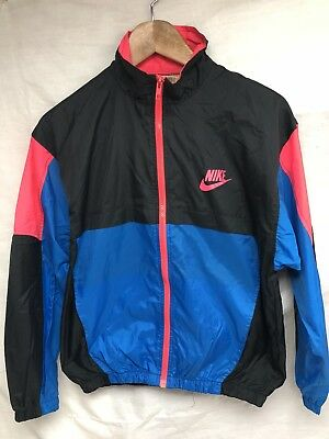 Vtg 90s Nike Grey Tag Coat Jacket Windbreaker Black Pink Blue Youth L