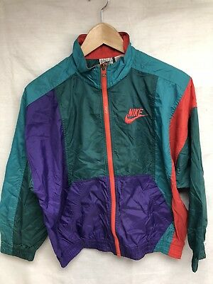Vtg 90s Nike Grey Tag Coat Jacket Windbreaker Green Purple Teal Orange Youth M