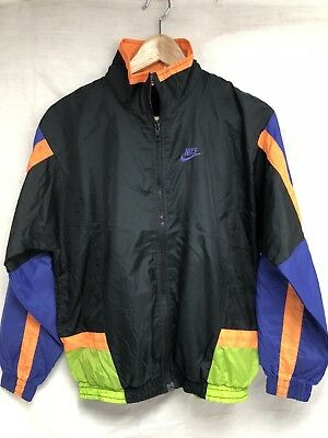 Vtg 90s Nike Grey Tag Coat Jacket Windbreaker Black Orange Green Purple Youth L