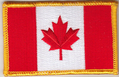 """CANADA FLAG w/GOLD BORDER (3 1/2"""") Iron On Patch Canadian National Flag"""
