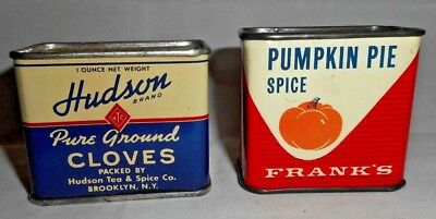 2 Vintage Spice Containers Hudson Brand Cloves & Frank's Pumpkin Pie Spice Tins
