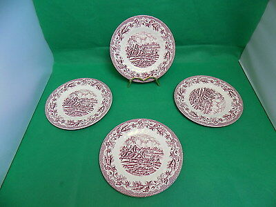 Royal Wessex Hunting Scenes Pink Side Plates x 4
