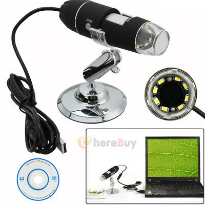 Por USB Digital Microscope 40X-1000X Electron Microscope W/8 LED light & Bracket