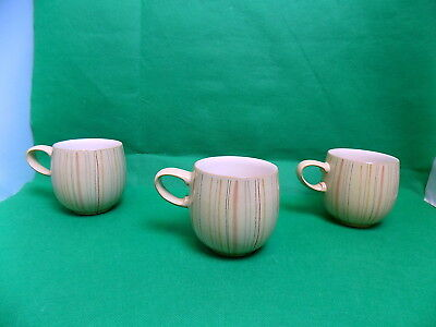 Denby Caramel Stripe Barrel Shape Mugs x 3