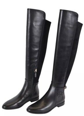 4cd3c814be79 TORY BURCH Leather Wyatt Over the Knee Tall T Logo Stretch Boots Black 8.5  NEW