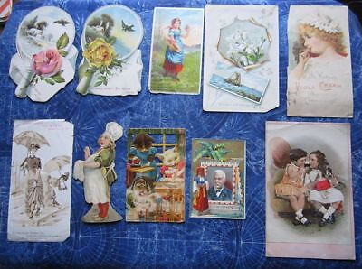 (10) 1800's Advertising Trade Cards IL MA NH NY Religious Cat Fantasy etc hj4026