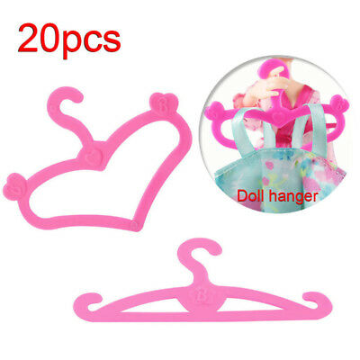 20Pcs Plastic Pink Hangers for Barbie Doll Outfit Gown Dress Clothes Accessories
