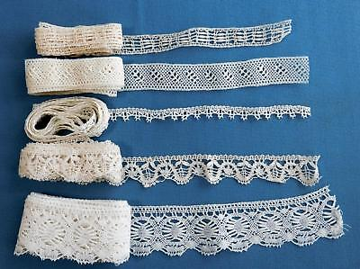 Vtg Antique Fine Hand Made Lace Lot Insertion and Edging total of 13+ yards  L80