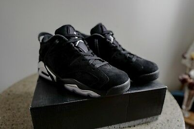new product ab7ef 658a2 NIKE AIR JORDAN 6 Retro Low Black Chrome Metallic Silver 304401-003 Size 9