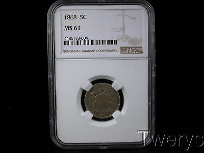 1868 Shield 5 Cents Ngc Ms 61