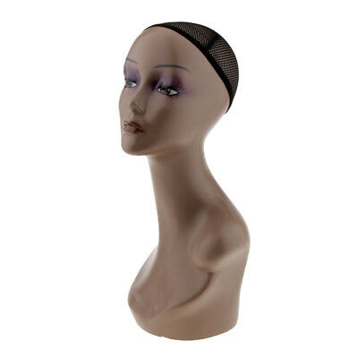 Female Mannequin Head Bust Wigs Hat Jewelry Display Model Stand with Net Cap