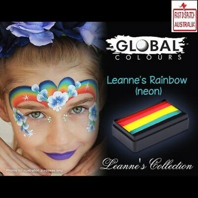 Global Colours 30g Leanne's Neon Rainbow Fun Stroke, Pro Face Paint Party UV