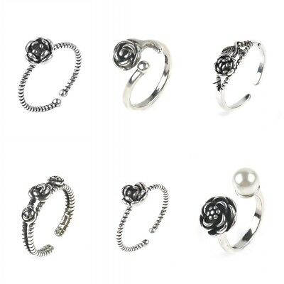 Unique Simple Small Sterling Silver Detailed Rose Flower Adjustable Ring Gift