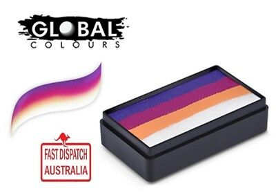 "Global Colours 30g ""RIO"" Fun Stroke rainbow Cake, Professional Face Paint"