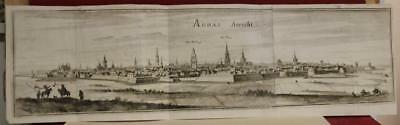 Arras France 1655 Merian Unusual Antique Original Copper Engraved City View