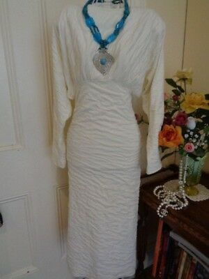 VINTAGE 1980's DRESS BY MATHILDE CREAM COLOUR WITH DOLMAN SLEEVES
